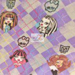 Monster High Anti-pill Polar Fleece Fabric Checkered Purple
