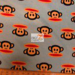 Monkey Anti-pill Polar Fleece Fabric By David Textiles Head Blue