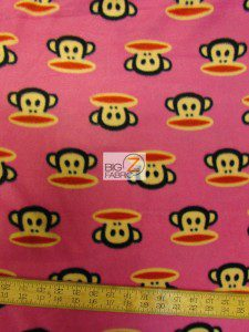 Monkey Anti-pill Polar Fleece Fabric By David Textiles Head Pink