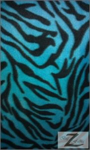 Zebra Anti-pill Polar Fleece Fabric Turquoise