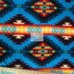 Baum Textile Mills Fleece Fabric indian Aztec Blanket Stripe Turquoise