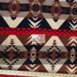 Baum Textile Mills Fleece Fabric indian Warrior Black