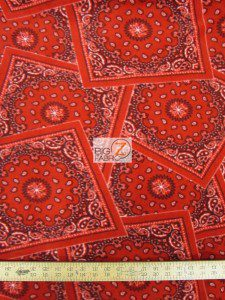 Baum Textile Mills Fleece Printed Fabric Bandana Red