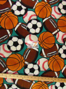 Baum Textile Mills Fleece Printed Fabric In The Game Sports