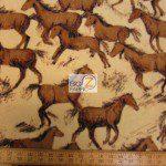 Baum Textile Mills Fleece Printed Fabric Wild Horses