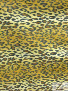 Leopard Anti Pill Fleece Fabric Gold Snow