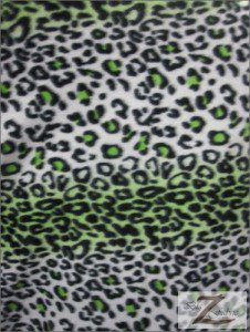 Leopard Anti Pill Fleece Fabric Green Snow