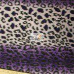 Leopard Anti Pill Fleece Fabric Purple Snow