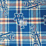 Los Angeles Dodgers Plaid By Fabric Traditions MLB Fleece Fabric