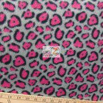 Cheetah Polar Fleece Fabric Gray Fuchsia