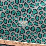 Cheetah Polar Fleece Fabric Gray Teal