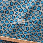 Cheetah Polar Fleece Fabric Gray Turquoise