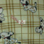 Fleece Printed Fabric Animal Dog Brown Plaid