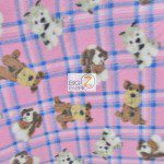 Fleece Printed Fabric Animal Dog Checkered Puppies