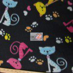 Cat Anti Pill Fleece Fabric Paws