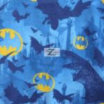 DC Comics Batman Fleece Fabric Dark Bat Shadows Symbols Blue