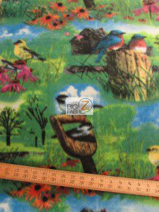 Beautiful Garden Bird Fleece Fabric