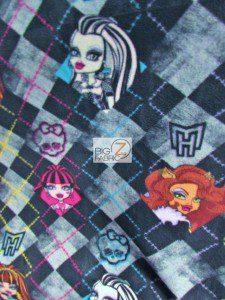 Monster High Checkered Fleece Fabric
