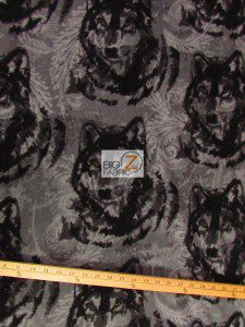 Baum Textile Mills Fleece Fabric Wolf Pewter