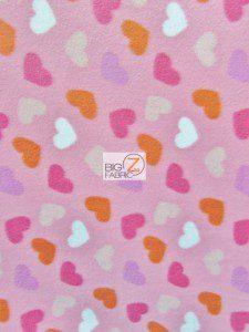 Loving Hearts Pink Fleece Fabric