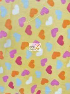 Loving Hearts Yellow Fleece Fabric