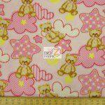 Bear Anti-pill Fleece Fabric Baby Teddy Pink