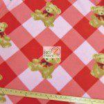 Bear Anti-pill Fleece Fabric Checkered Red