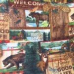 Bear Anti-pill Fleece Fabric Rustic Retreat Wildlife