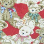 Bear Anti-pill Fleece Fabric Where Are My Teddy Bears Red