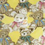 Bear Anti-pill Fleece Fabric Where Are My Teddy Bears Yellow