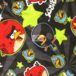 Space Stars Black Angry Birds Fleece Fabric
