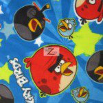 Space Stars Blue Angry Birds Fleece Fabric