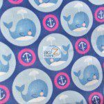 Baby Fleece Fabric Anchor Whales