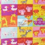 Baby Fleece Fabric The ABC Zoo Animals