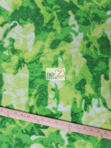 Fleece Printed Fabric Camouflage Green