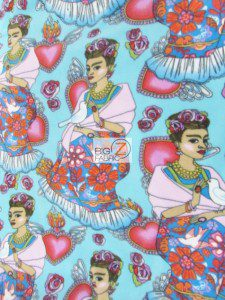 Folkloric Frida Kahlo Fleece Fabric