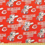 MLB Anti-pill Fleece Fabric Cincinnati Reds