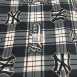 MLB Anti-pill Fleece Fabric New York Yankees Plaid