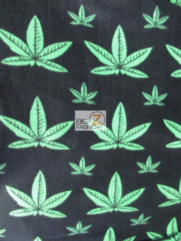 Marijuana Cannabis Plant Fleece Fabric