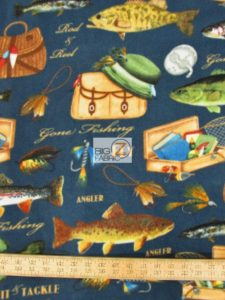 Baum Textile Mills Fleece Fabric Gone Fishing