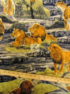 Baum Textile Mills Fleece Fabric Lion Pride