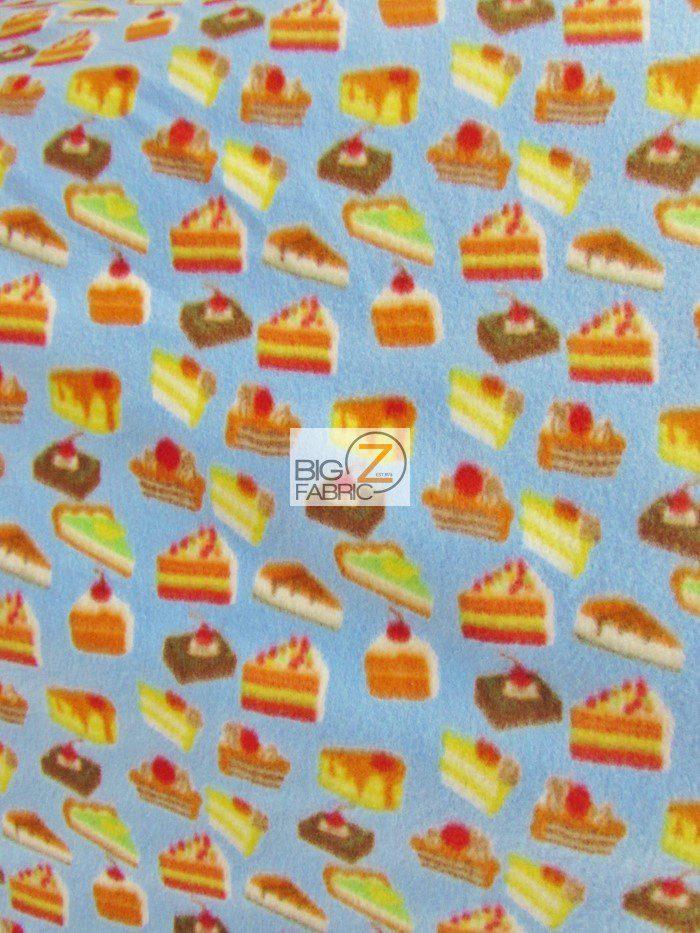 Anti-pill Fleece Fabric Cupcake Pastries Sky Blue