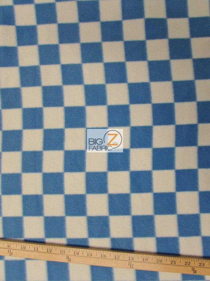 Blue/White Checkered Anti-pill Fleece Fabric