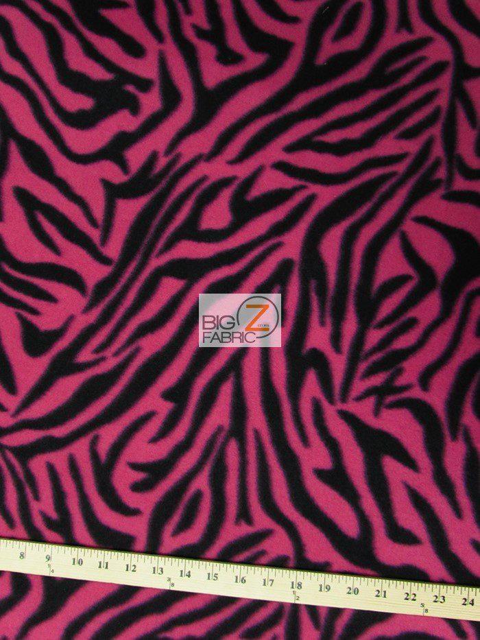 Fuchsia Stripes Zebra Anti-pill Fleece Fabric