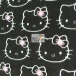 Hello Kitty Anti-pill Fleece Fabric Bling Black