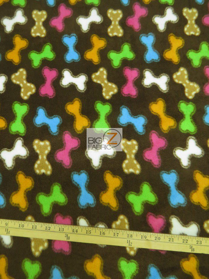 Dog Bone Treats Rainbow Anti-pill Fleece Fabric