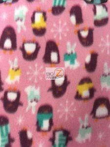 Holiday Penguins & Rabbits Pink Fleece Fabric