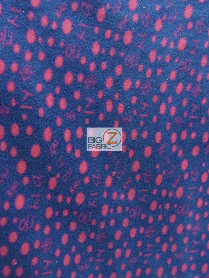 Navy/Fuchsia Polka Dot Anti-pill Fleece Fabric