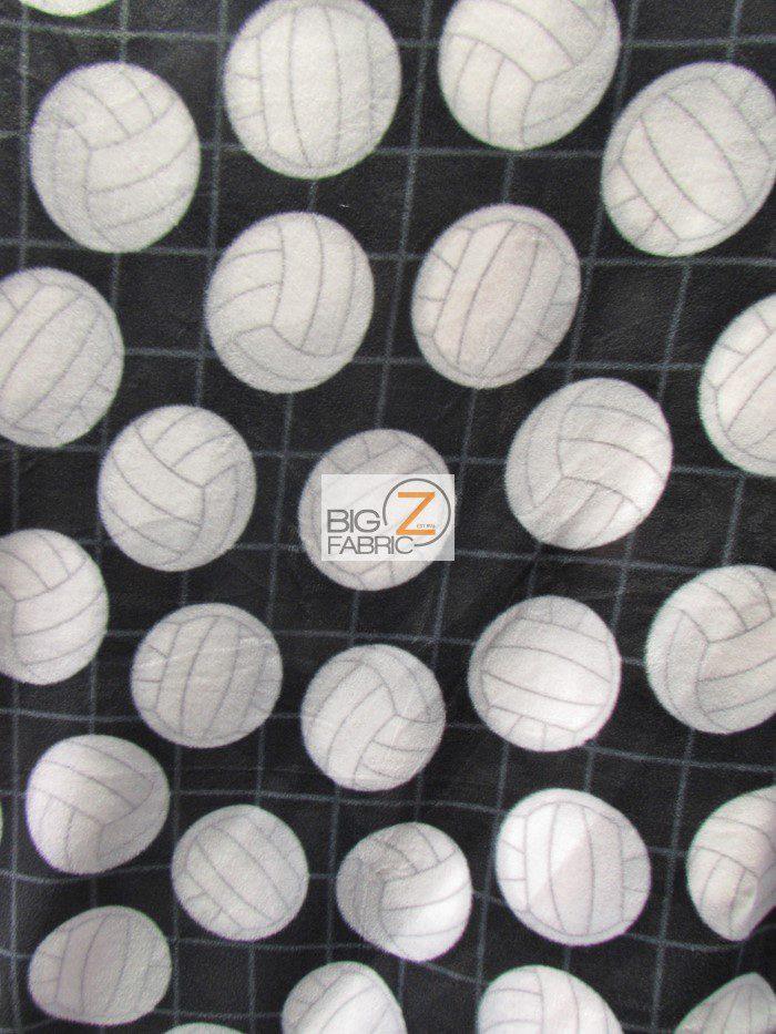 Black Volleyball Anti-pill Fleece Fabric