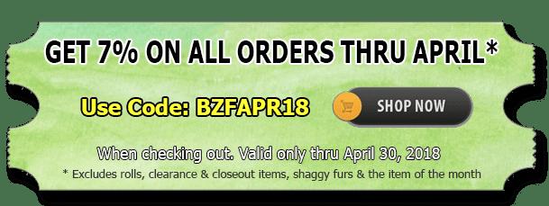 April 2018 Fleece Fabric Discount